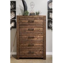 Dajono Rustic Brown Finish Pine Wood 5-drawer Chest