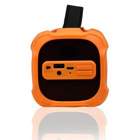 Portable Indoor/Outdoor Bluetooth® Speaker W/ USB Built-In 3.5mm Line-In Jack Rechargeable Battery & Sub woofer-Orange