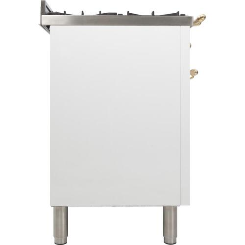 Nostalgie 36 Inch Dual Fuel Liquid Propane Freestanding Range in White with Brass Trim