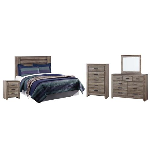 Queen/full Panel Headboard With Mirrored Dresser, Chest and Nightstand