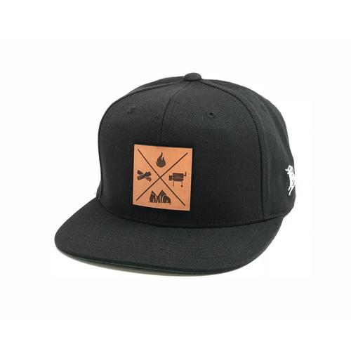 Green Mountain Grills - GMG Black Snapback Hat w/ Leather Patch