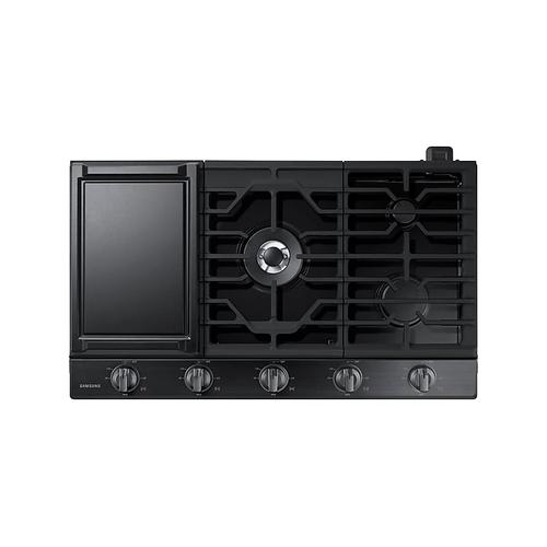 "36"" Smart Gas Cooktop with Illuminated Knobs in Black Stainless Steel"