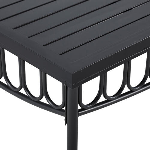 Metal Loveseat and Coffee Table set in Black (Component 1 of 2)