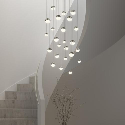 Sonneman - A Way of Light - Grapes® LED Pendant [Size=12-Light Assorted, Color/Finish=Satin Nickel, Shape=Round Canopy]