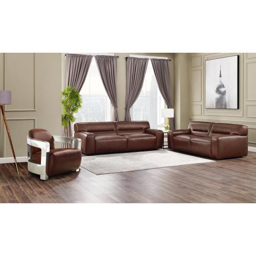 SU-AX6816-SLA  Leather 3 Piece Living Room Set  Sofa  Loveseat  Aviator Chair with Chrome Arms  Brown