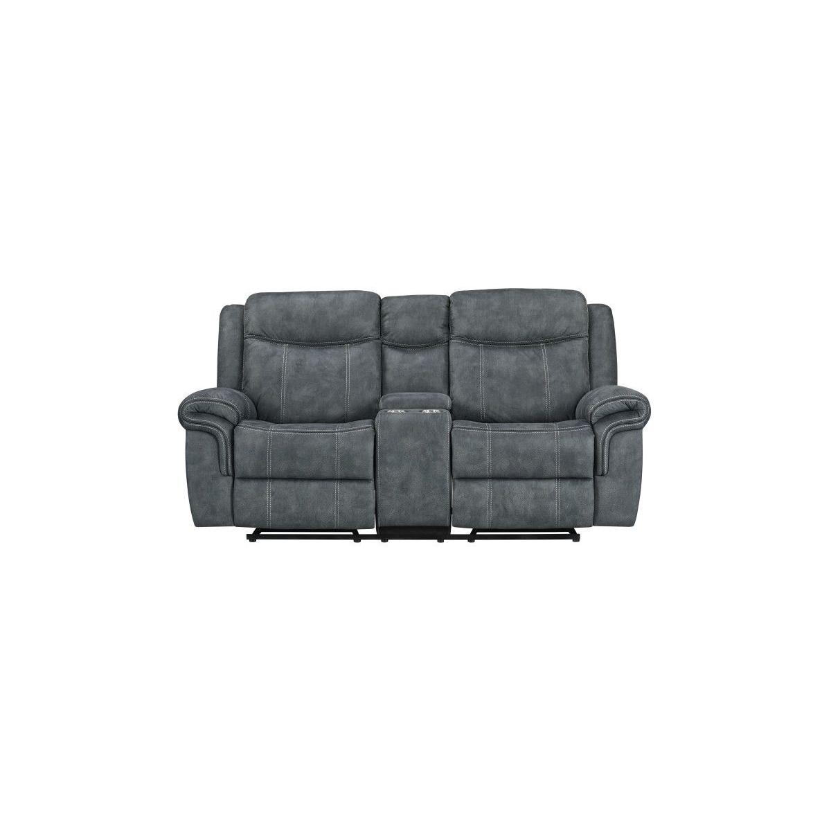 Knoxville Grey Glider Loveseat with Console, Charcoal