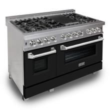 ZLINE 48 in. Professional Dual Fuel Range in DuraSnow® Stainless Steel with Black Matte Door (RAS-BLM-48)