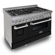 ZLINE 48 in. Professional Dual Fuel Range in Snow Stainless with Black Matte Door (RAS-BLM-48)