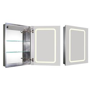 Medicinehaus recessed single door anodized aluminum cabinet with an electric outlet, defogger, and blue-lit LED power button and dimmer for light around the front. Product Image