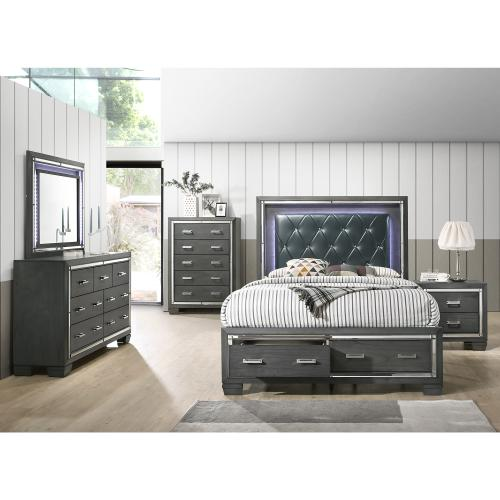 Titanium Queen Tufted Upholstered Storage Bed
