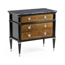 Madison Piano Black & Amber Ash Burl Nightstand with Grey Wave Marble Top