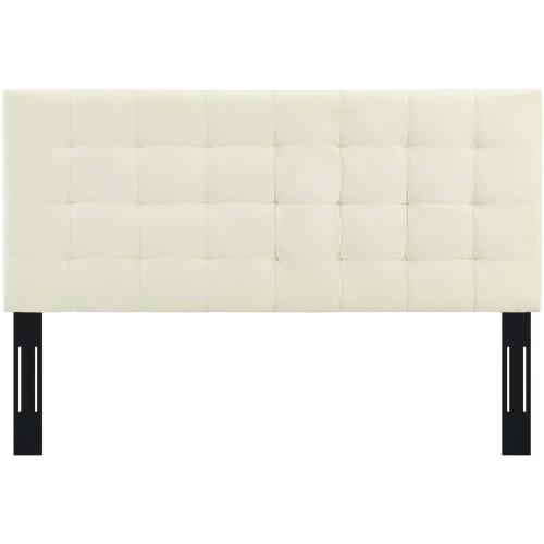 Paisley Tufted Full / Queen Upholstered Performance Velvet Headboard in Ivory