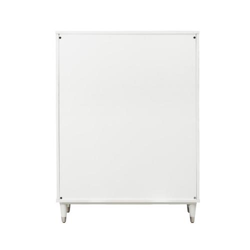 Modern Glam Five Drawer Chest in White - KD (Carton 2 of 2)