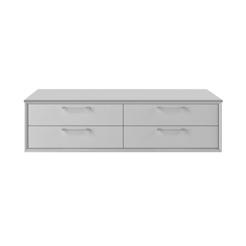 Cabinet of wall-mount under-counter cabinet featuring two drawers and solid surface countertop (pulls included).