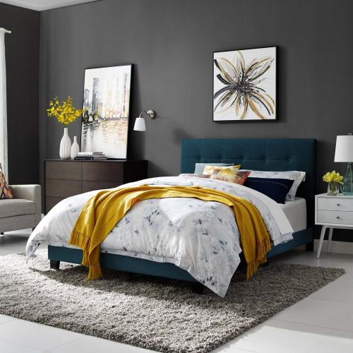 Amira Twin Upholstered Fabric Bed in Azure