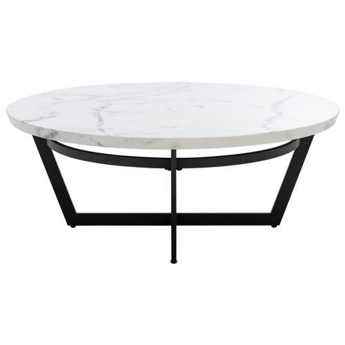 Safavieh - Placido Round Coffee Table - White Marble / Black