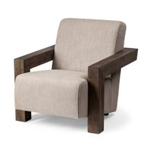 Sovereign III Beige Fabric Upholstered With Wood Frame Accent Chair