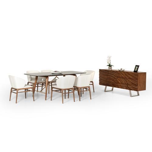 Modrest Kipling Modern Smoked Glass & Walnut Dining Table