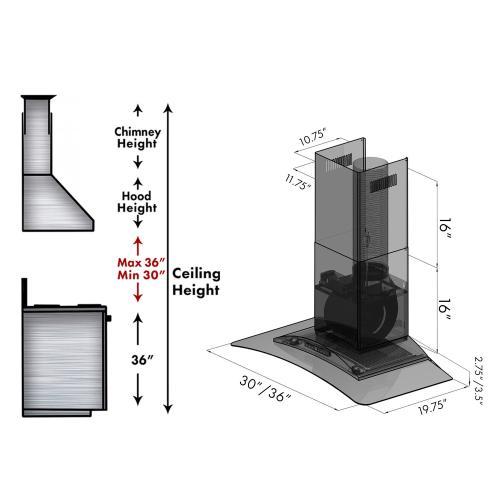 Zline Kitchen and Bath - ZLINE Convertible Vent Wall Mount Range Hood in Stainless Steel & Glass (KZ) [Size: 36 inch]