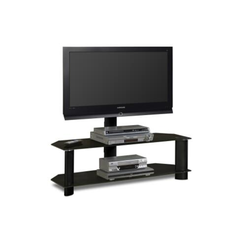 """Tech-craft - 48'"""" Wide Stand With Mount and Black Glass Shelves - Accommodates Most 52"""" and Smaller Flat Panels"""