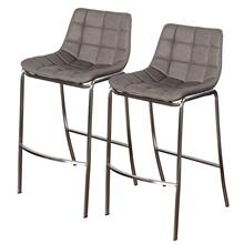 LIGHT TUFTS  23in w X 41in ht X 21in d  Set of Two Gray Bar Stools with Stainless Steel Legs