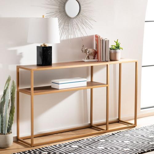 Safavieh - Octavia Console Table - Walnut / Gold