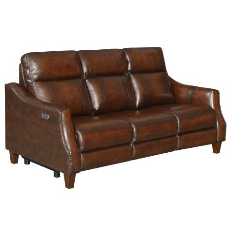 Akari Leather Dual-Power Reclining Sofa w/Dropdown Console