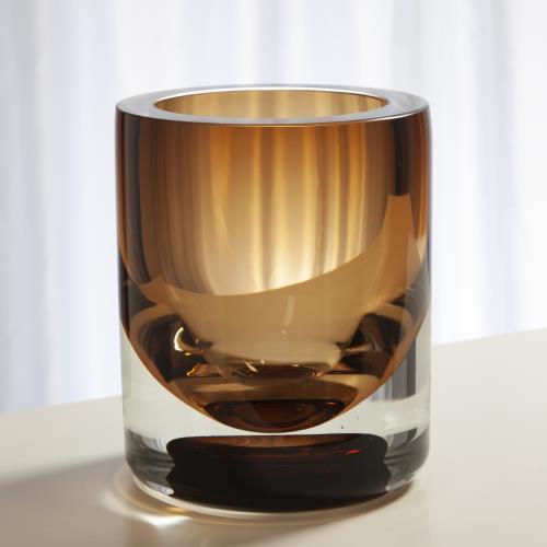 Thick Cylinder Vase-Amber Tobacco-Lg