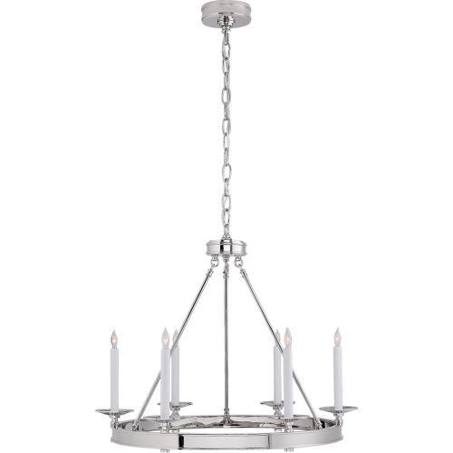 Visual Comfort CHC1600PN E. F. Chapman Launceton 6 Light 27 inch Polished Nickel Chandelier Ceiling Light, Small Ring