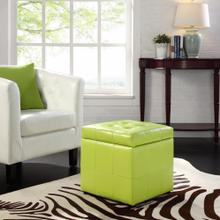 Volt Storage Upholstered Vinyl Ottoman in Light Green
