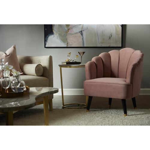 Channel Tufted Venus Accent Chair in Shell Pink
