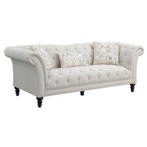 Hutton II Sofa Nailhead With 3 Pillows Off White