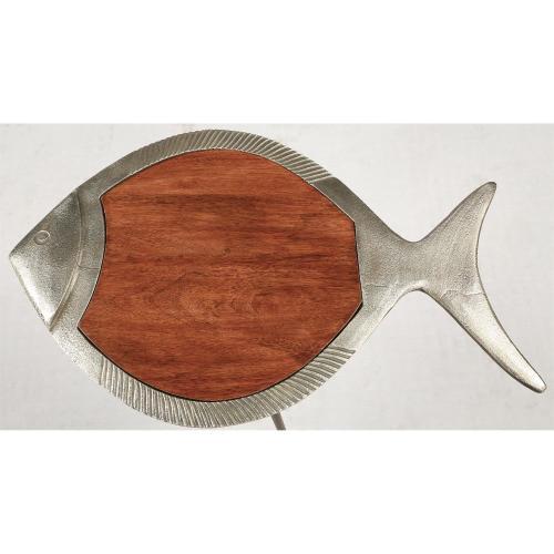 Fish Side Table - Dark Sheesham/raw Nickel Finish