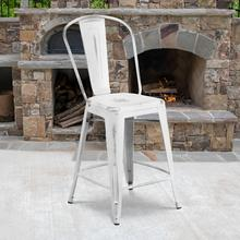 "Commercial Grade 24"" High Distressed White Metal Indoor-Outdoor Counter Height Stool with Back"