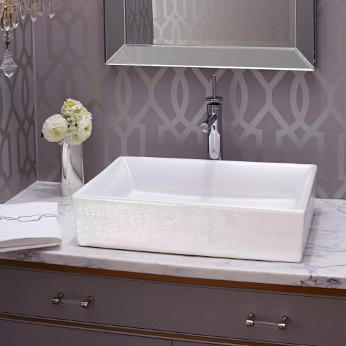 Dxv - Pop Rectangle Vessel Bathroom Sink - Pearlescent White