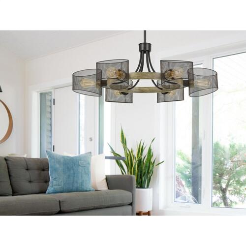 60W X 6 Dronten Metal/Wood Chandelier With Mesh Shades (Edison Bulbs Are Not included)