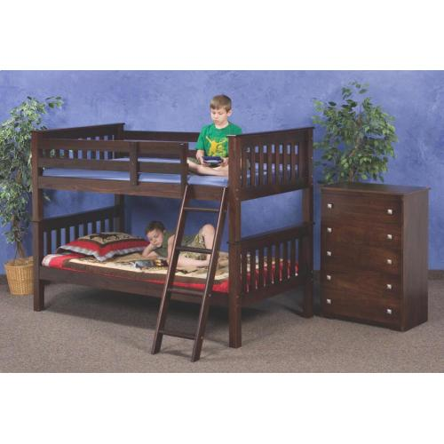 Donco Trading Company - Twin Cappuccino Mission Bunkbed