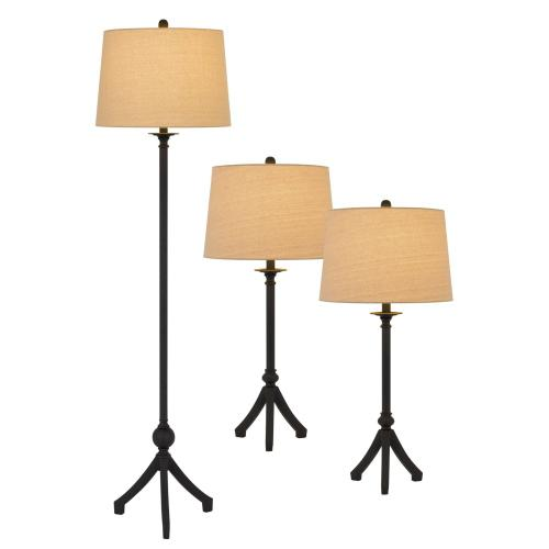 3 pcs package. 2 pcs of 150W 3 way adjustable metal table lamps. 1 pc of 150W 3 way adjustable metal floor lamp.