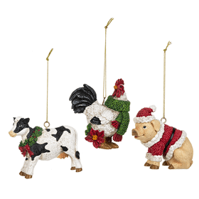 Barnyard Christmas Ornaments (12 pc. ppk.)
