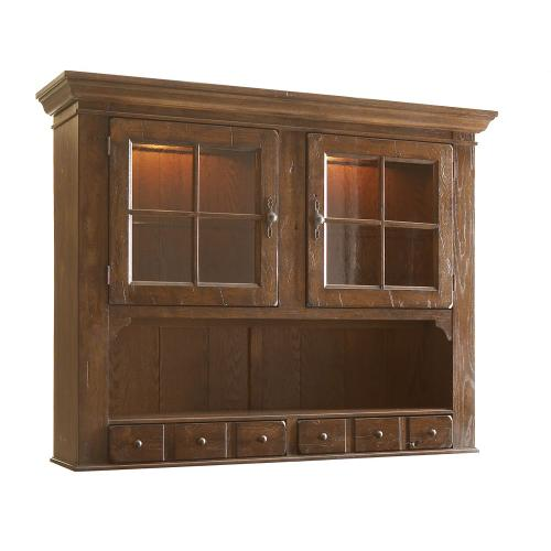 Attic Heirlooms China Door Hutch, Natural Oak Stain