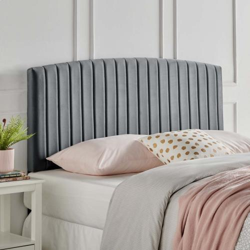 Rebecca Performance Velvet King / California King Headboard in Charcoal