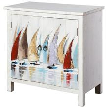 SKYLAR HAND PAINTED CABINET  32in X 32in X 15in  Coastal Design Hand Painted Two Door Cabinet
