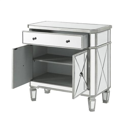 1-drawer and 2-door Mirrored Console, Grey Wood