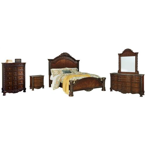 Ashley - California King Panel Bed With Mirrored Dresser, Chest and Nightstand