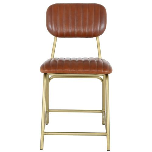 Lewis Leather Chair Gold Legs, Ale Brown