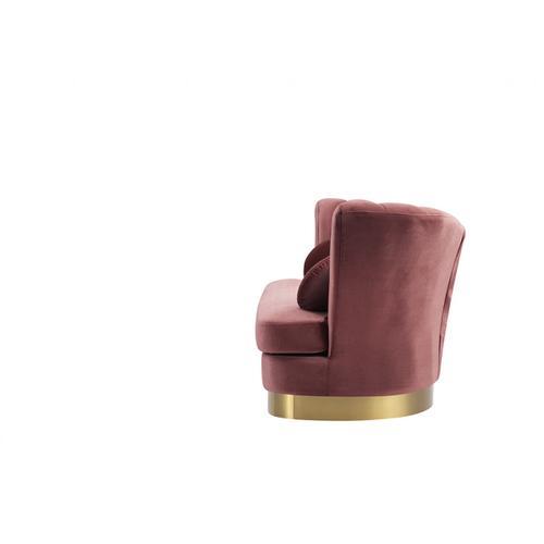 Divani Casa Arvada Modern Pink Velvet & Gold Sofa