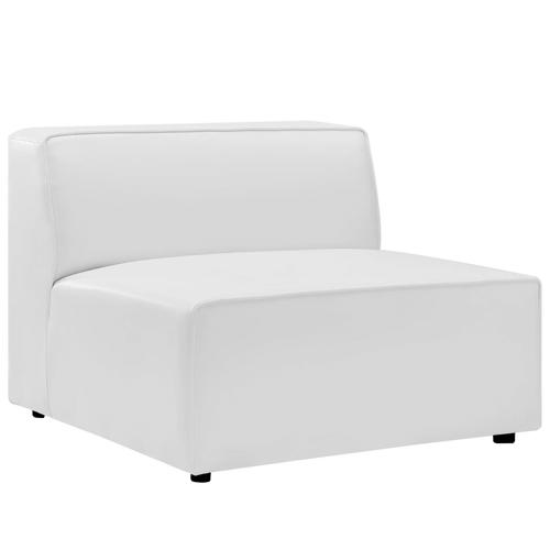 Mingle Vegan Leather Armless Chair in White