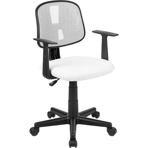 Flash Furniture - Flash Fundamentals Mid-Back White Mesh Swivel Task Office Chair with Pivot Back and Arms, BIFMA Certified