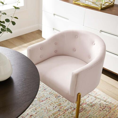 Savour Tufted Performance Velvet Accent Chair in Pink