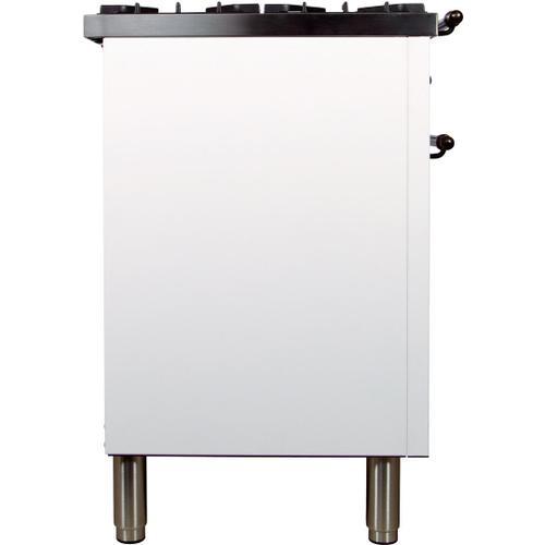 Nostalgie 48 Inch Dual Fuel Liquid Propane Freestanding Range in White with Bronze Trim